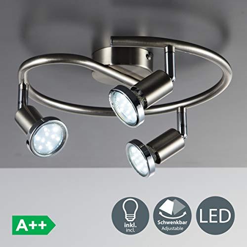 Faretti LED da soffitto orientabili, include 3 lampadine GU10 da 3W, luce calda 3000K, plafoniera...
