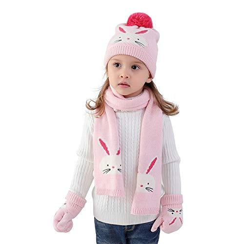 Bebè Bambine Guanti Sciarpa cappello lavorato a maglia 3 pezzi Set invernali bimba ragazze 6-12...