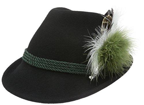 Alpenflüstern Damen Filz-Trachtenhut Schwarz mit Hutfeder Farbenfroh, Grün (Grün 50), 55/57 cm (Herstellergröße: Medium)