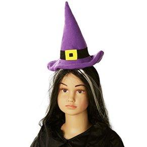 Heitmann Deco 7148 Casa de Halloween - diadema con sombrero, color de la bruja: Negro/Lila