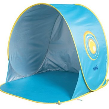 LUDI – Tente de plage avec Protection UV 50. Dès 10 mois. Structure pop-up légère, se plie et se range facilement dans un sac. Dimension : 105 x 90 x 100 cm. Fournie avec 4 fixations au sol.  – 2304