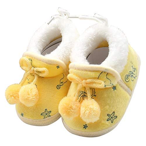 exing botas de bebé de peluche para bebé invierno Belles–Zapatos para bebé Bowknot Ball–Zapatillas de cordones unidas, color amarillo L