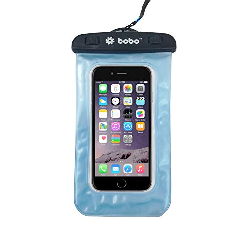 BOBO Universal Waterproof Pouch Cellphone Dry Bag Case for iPhone Xs Max XR XS X 8 7 6S 6 Plus, Samsung Galaxy S9 S8 + Note 8 6 5 4, Pixel 3 2 XL, Mi, Moto up to 6.5 inch - Blue (Pack of 1)