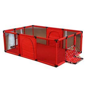 Corralito Parque para bebés de Color Rojo Portátil con Red de fútbol y Estera de Pelotas, Juego de niños Patio Plegable Separador de Tela Oxford Cerca de Interior al Aire Libre