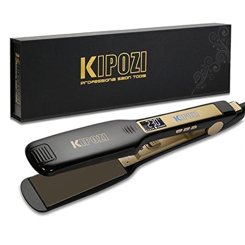 KIPOZI Lisseur Cheveux Professionnel Fer à Lisser à Larges Plaques avec Ecran LCD et Fonction Multi-voltage à Chauffe Rapide (Noir)