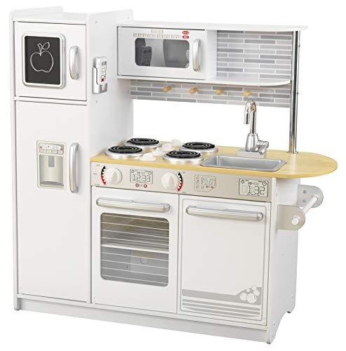 Kidkraft 53364 Uptown White - Cucina Giocattolo, in Legno, con Finto Telefono Incluso, per Bambini, Bianco