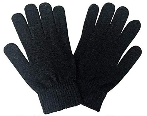 Unieco Men & Women Cozy Thermal Knitted Woolen Winter Gloves - Comfy and Warm - Unisex - Free Size - Black