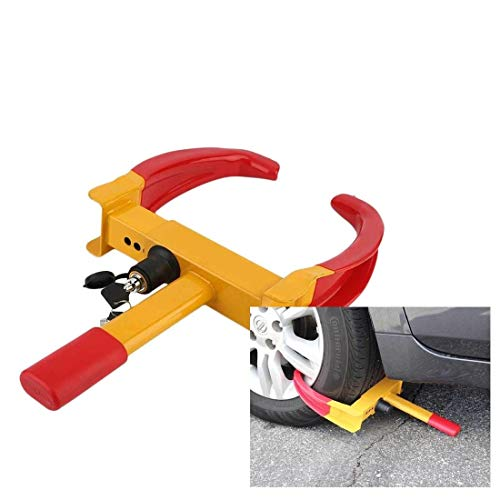 Toriox Anti-Theft Tyre Wheel Clamp Lock Truck Car Automotive for Four Wheeler and Bike (Yellow/Red)