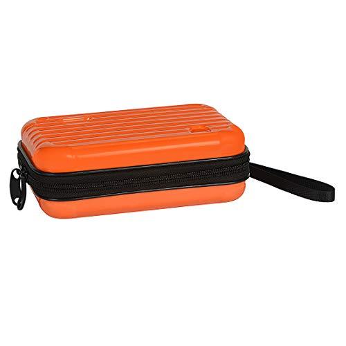 STRIPES Orange Hard Cosmetic Travel Case,Handbag/Clutch Bag Suitcase Design with Wristlet, Double Zipper Portable Travel Cosmetic Case