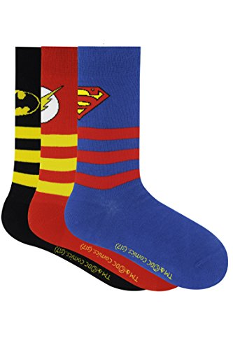 Justice League Kids Stripes with Character Logo Crew Socks - Superman, Batman, Flash -Pack of 3
