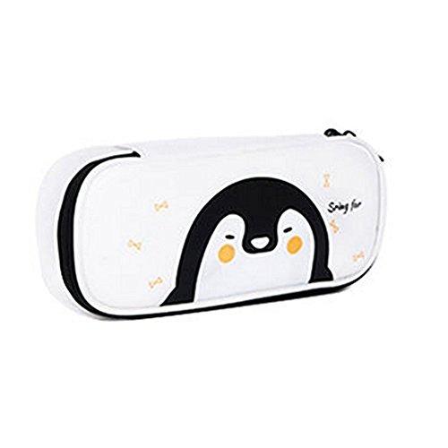 Cosanter Pencil Case Holder cute Pengun modello in similpelle con cerniera in pelle per occhiali da...