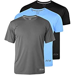 AWG - All Weather Gear Men's Polyester Dry Fit Round Neck Half Sleeve T-Shirt (Black, Sky Blue, Dark Grey, Medium) - Pack of 3