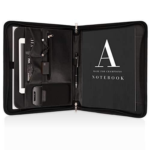 Schreibmappe A4 Premium Aktenmappe mit doppel Reißverschluss und 11 Zoll Fach für Tablet, IPad professionelle Konferenzmappe aus Kunstleder für Damen und Herren