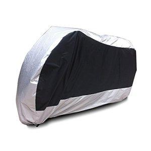 Surepromise XL Motorradabdeckung Motorradplane Outdoor Indoor 190T Wasserdicht Winterfest Motorrad Abdeckplane Abdeckung mit Tasche (XL, Mittel Silber) 12
