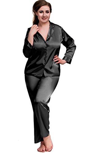 7701bdaa688 Nine X- Plus Size Lingerie S-6XL Satin Pyjamas Long Sleeve Nightwear ...