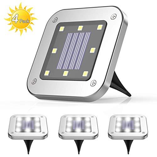4 Pezzi Luce Sepolta Solare,AGPTEK 8 LEDS lampade da giardino solari da terra,IP65 Lampada Solare...
