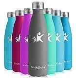 KollyKolla Vakuum Isolierte Edelstahl Trinkflasche, 500ml BPA Frei Wasserflasche Auslaufsicher, Thermosflasche für Kinder, Schule, Mädchen, Sport, Outdoor, Fahrrad, Büro, Fitness (Voll Grau)