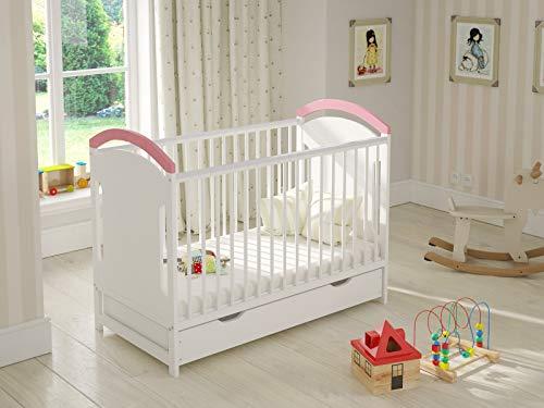 Babybett Gitterbett Weiß Pink mit Shublade 120 x 60 Hölzerne Sicherheitsbarriere