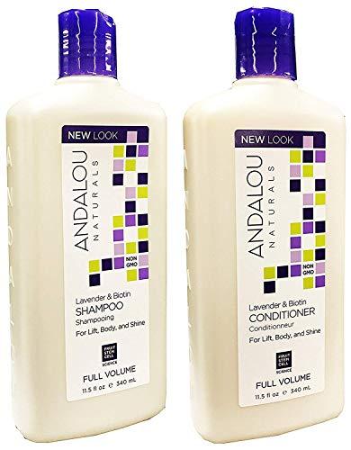 Andalou Naturals Lavender & Biotin Full Volume Shampoo & Conditioner Hair Loss Solution With Biotin Growth Serum, Aloe Vera Extract And Jojoba Oil For