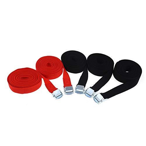 ENET 5pcs Cinturones de tensión portaequipajes de Techo Amarre Kayak Canoa Correa Barco Remolque Enganche Hebilla Correas Set Negro Rojo 2.5cm x 5m