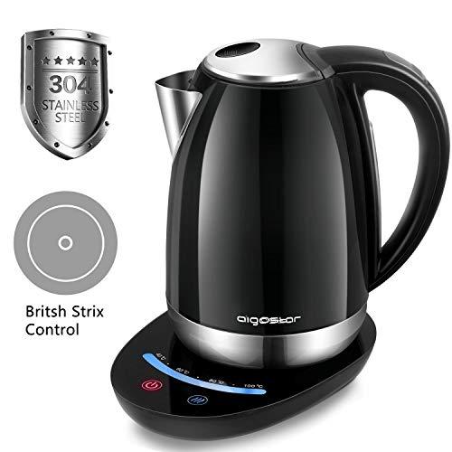 Aigostar Black Pearl 30IMV - Edelstahl Wasserkocher mit 7 Temperatureinstellung, Premium Touch Control,Strix Thermostat Steuerung 2200Watt, 1,7 Liter, BPA Frei Kessel. EINWEGVERPACKUNG.