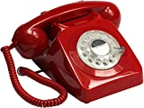 GPO 746 Rotary 1970s-style Retro Landline Phone - Curly Cord, Authentic Bell Ring - Red