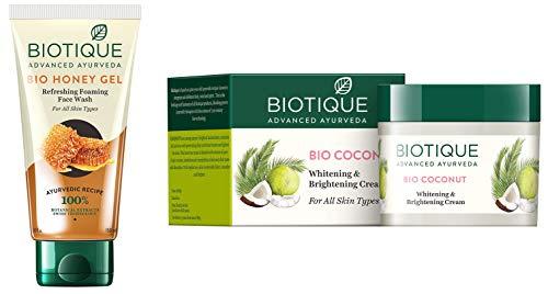 Biotique Bio Honey Gel Refreshing Foaming Face Wash, 150ml and Biotique Bio Coconut Whitening And Brightening Cream, 50g