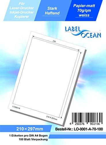 LabelOcean LO-0001a70-100 210 x 297 mm Universal Etiketten, 100 Blatt 70g/qm, Hochwertiges Papier