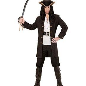 shoperama - Abrigo Negro para Hombre con Botones Dorados para Piratas, maldición del Caribe, Disfraz de Pirata