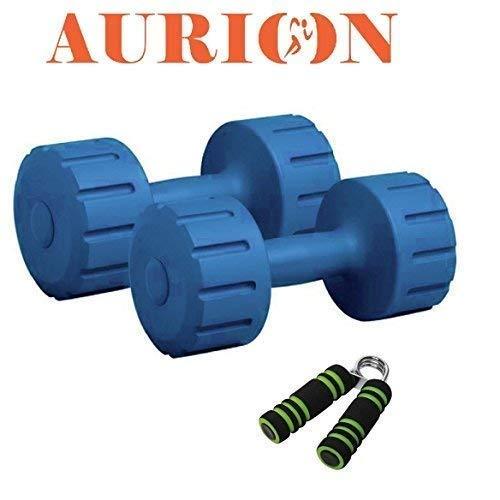 Aurion Hand Dumbbells Weights Fitness Home Gym Exercise Barbell 1Kg, 2Kg, 3Kg, 4Kg, 5Kg Set (Pack of 2) Light Heavy Ladies Mens Dumbbells (10 KG (5KG X 2) Blue)