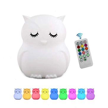 Veilleuse enfant, Tianhaixing LED veilleuse bebe en silicone mignonne avec 9 couleurs changeantes/USB Rechargeable/Télécommande & tactile dimmable, cadeau idéal Noël/anniversaire pour enfant