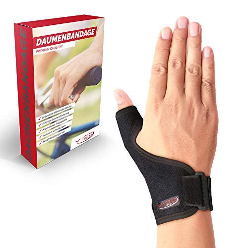 Vigo Sports® medizinische (universal) Daumenbandage für links & rechts - Elastische Daumenschine für Damen & Herren | Daumenorthese z.B. für Sattelgelenk, Kapselriss & Sehnenscheidenentzündung etc.