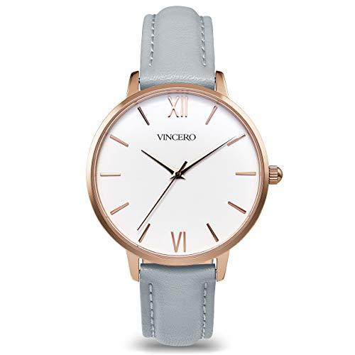 Vincero Luxury Women's Eros Wrist Watch with a Leather Watch Band - 38mm Analog Watch - Japanese Quartz Movement (Rose + Fog)