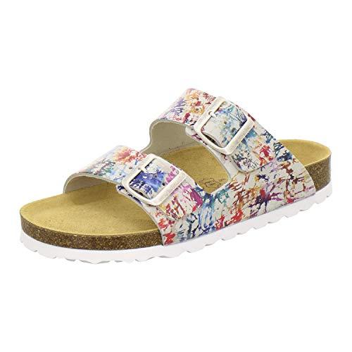 AFS-Schuhe 2100, Bequeme Damen Pantoletten echt Leder, praktische Arbeitsschuhe, Hausschuhe, Handmade in Germany Größe 41 EU Mehrfarbig (bunt)