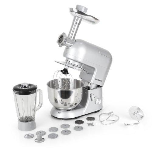 Klarstein Lucia Argentea robot da cucina tritacarne, mixer, multiuso (1200 Watt, 5 litri, 6...