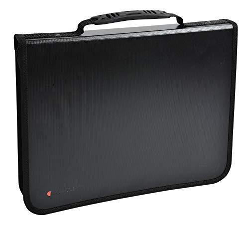 Exactive Konferenzmappe Exafolder mit Reißverschluss und Henkel/Schwarzer Organizer mit austauschbarem Block/Ordner (36cm x 27cm)