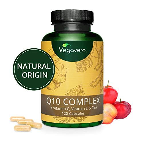 Q10 COENZIMA Vegavero | 100 mg | con Vitamina C, Vitamina E e Zinco | 120 capsule | Vegan