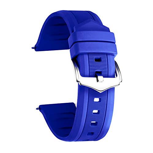 BINLUN Cinturino per Smart Watch in Silicone,Colori (Bianco/Rosso/Nero/Blu/Arancione) Dimensioni (12mm/14mm/16mm/18mm/19mm/20mm/21mm/22mm/24mm)