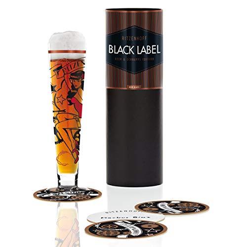 Ritzenhoff Black Label Beer, Bicchiere da Birra con Sottobicchiere, 300 ml, Design Primavera 2014,...