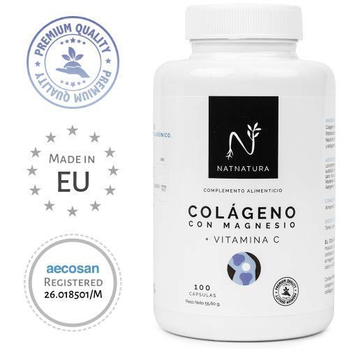 Collagene con magnesio. Collagene marino idrolizzato+magnesio+Acido ialuronico+vitamina C. Potente integratore alimentare per il mantenimento di articolazioni, cartilagini, ossa e pelle. 100 capsule.