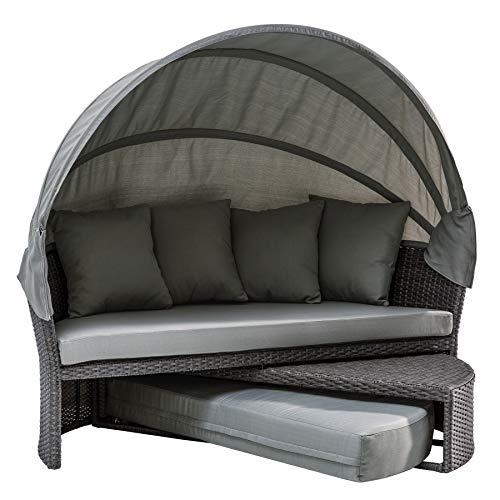 Invicta Interior Wandelbare Sonneninsel Playa Living 165cm grau inkl. Kissen und drehbarer Sitzfläche Outdoor fähig Gartenmöbel Sonnenliege Gartenliege mit Dach wetterfest
