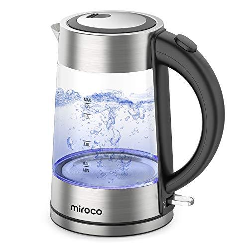Miroco Glas Wasserkocher, Wasserkocher 1.7 Liter Edelstahl Glaswasserkocher mit Filterauslauf, Glaswasserkocher mit LED-Innenbeleuchtung Trockenlaufschutz Warmhaltefunktion, BPA-Frei- 2200W