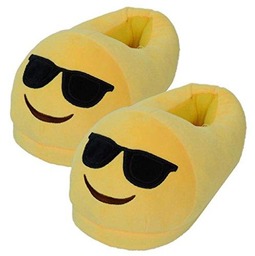 Sannysis® Emoji Emoticon Zapatillas Cómodo Suela Térmica Vellocino Invierno (G)