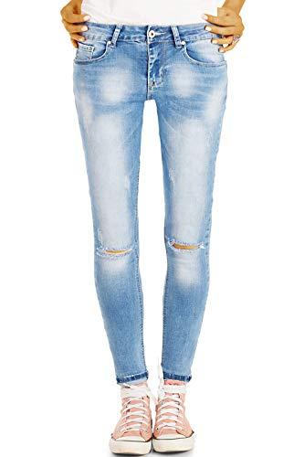 bestyledberlin Damen Röhrenjeans, Ripped Knee Jeans eng, Used Look...