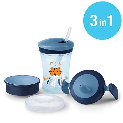 NUK Set per imparare a bere con Trainer Cup (6+ M), Magic Cup 360° biberon (8+ M) e Action Cup...
