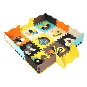 Alfombrillas de Espuma EVA para Bebé con Valla Protectora Juega Puzzle Mat para niños pequeños 25 Piezas