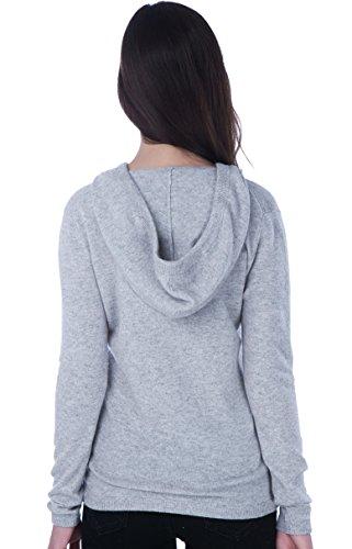 100% Kaschmir V-Ausschnitt Kordelzug Hoodie Pullover für Frauen - von CASHMERE 4 U (X-Large, Argent (Garu)) - 3