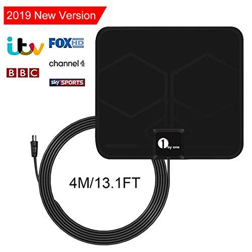 1byone DVB-T/DVB-T2 Antenne HD 1080P Verstärkte Antenne Super-Flat DVB-T Zimmerantenne kompatible Fernseher Antenne