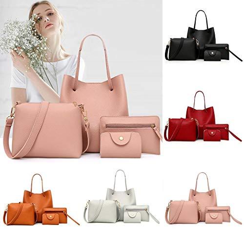 4 piezas Bolsos de Mujer Bolso de Hombro Bolsa de Embrague Monedero Kit Conjunto de Bolsos de Mujer