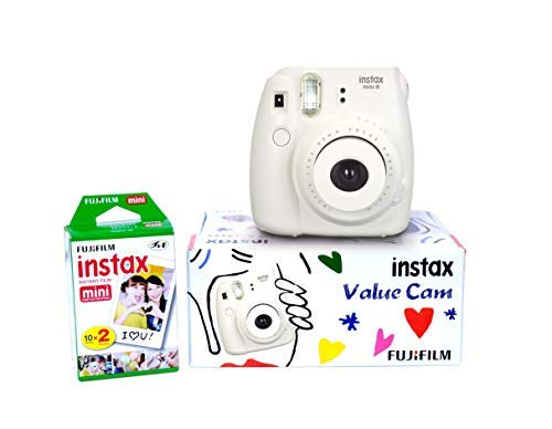 Fujifilm Instax Mini 8 Value Cam Instant Camera - Combo Offer (Camera + 20 Instant Films) (White)